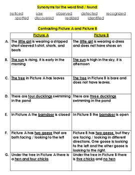 Compare and Contrast Writing Frame and Activity using two pictures