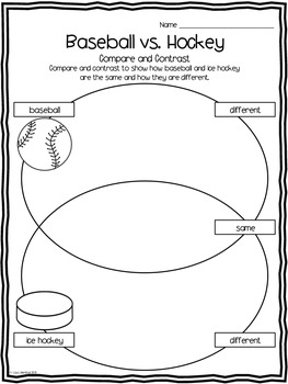 Compare and Contrast Writing ~ Baseball vs. Hockey