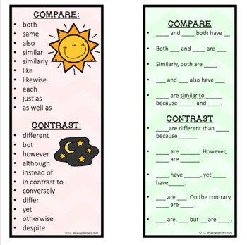 Compare and Contrast Writing, Bookmarks, ELL Friendly, FREEBIE