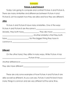 Compare and Contrast Writing Frame and Activity