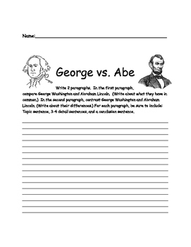 George vs Abe President's Day Compare and Contrast Writing