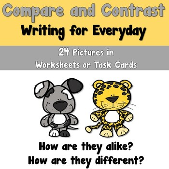 Compare and Contrast Writing Worksheets and Task Cards