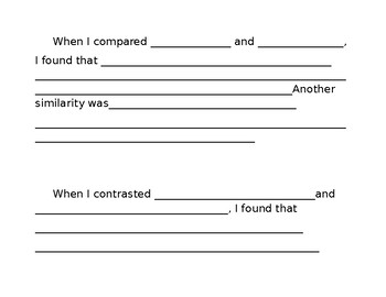Compare and Contrast Writing and Venn