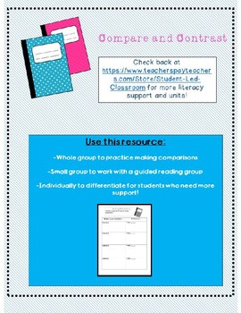 Compare and Contrast (characters, setting/events, books) Organizers