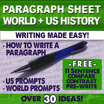 Writing Activity Prompts Free World History and US History