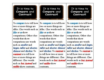 Compare and Contrast student bookmark and reference tool