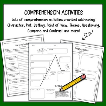One Crazy Summer Comprehension- Novel Study with Answer Key