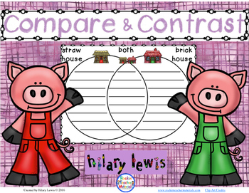 Compare and Contrast with Venn Diagrams -Use as Literacy Centers or Worksheets