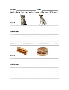 Compare and Contrast worksheet