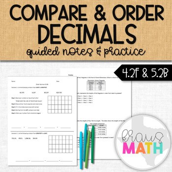 Compare and Order Decimals: Guided Notes & Practice