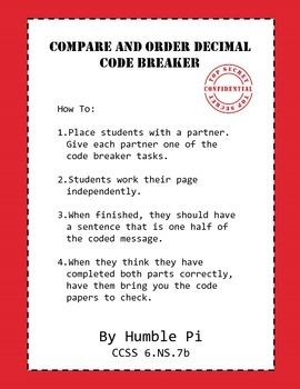 Compare and Order Decimals Codebreaker- 6.NS.7b