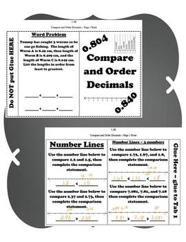 Compare and Order Decimals INB TEKS 5.2A