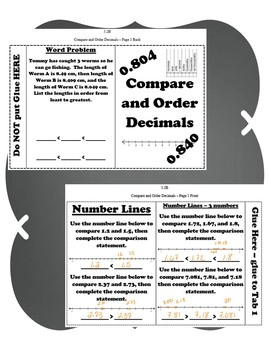 Compare and Order Decimals INB TEKS 5.2B