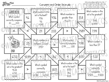 Compare and Order Decimals Maze 5.2B