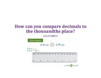Compare and Order Decimals PowerPoint