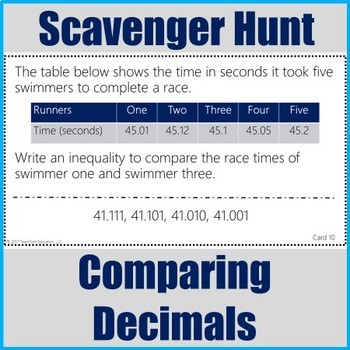 Compare and Order Decimals Scavenger Hunt