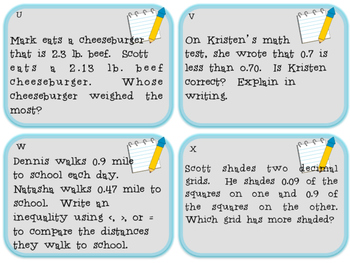 Compare and Order Decimals: Tenths & Hundredths TASK CARDS