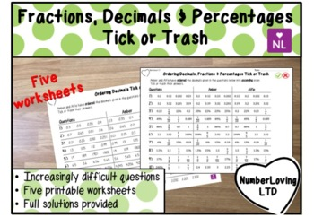 Compare and Order Fractions, Decimals and Percentages (Tick or Trash)