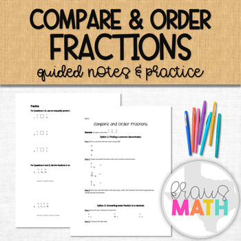 Compare and Order Fractions: Guided Notes
