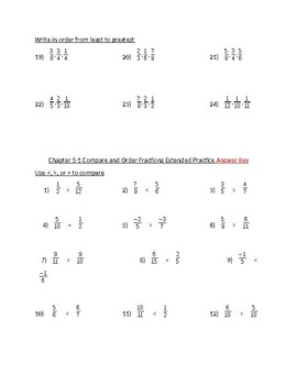 Compare and Order Fractions Practice Problems