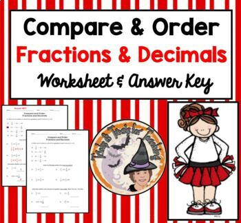 Compare and Order Fractions and Decimals Practice Worksheet Homework