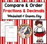 Compare and Order Fractions and Decimals Worksheet Ordering Least Greatest