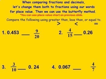 Comparing and Ordering Fractions and Decimals Compare Order Smartboard Lesson