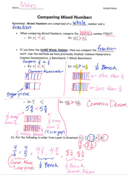 Compare and Order Fractions and Mixed Numbers GUIDED NOTES