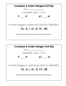 {FREE} Compare and Order Integers Exit Slip