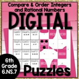 Compare and Order Integers and Rational Numbers Digital Puzzles 6.NS.7