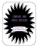 Compare and Order Integers guided doodle notes and answer key