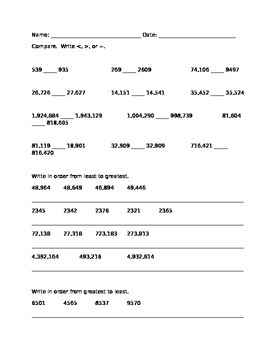 Compare and Order Large Numbers worksheet