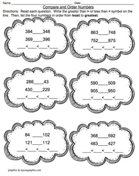 Compare and Order Numbers to 1,000