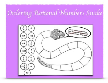 Compare and Order Rational Numbers Snake