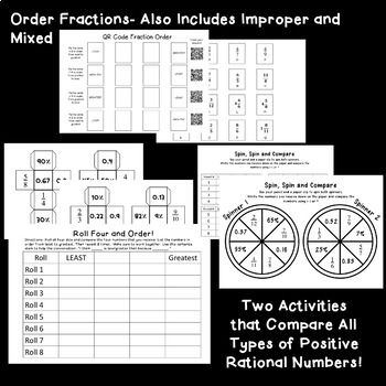 Compare and Order Rational Numbers TEKS 6.2D 6 Stations, Games or Activities
