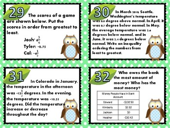 Compare and Order Rational Numbers Task Cards