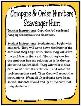 Compare and Order Scavenger Hunt (TEKS 3.2D)