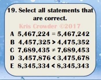 Compare and Order Whole Numbers Through Millions Task Cards VA SOL 4.1b