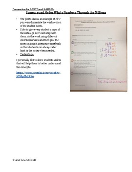 Math Cornell Notes: Compare and Order Whole Numbers Through the Millions