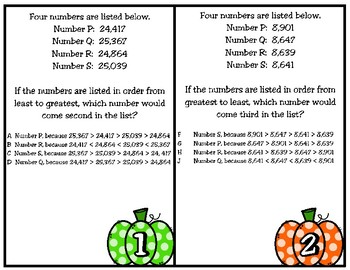 Compare and Order  Whole Numbers to  1,000,000,000 (TEKS 4.2C) STAAR Practice