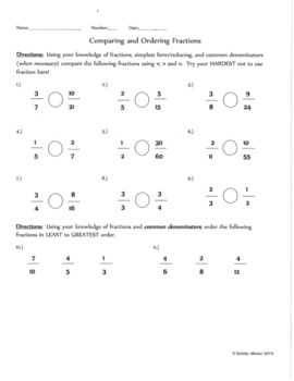 Compare and Ordering Fractions Handout