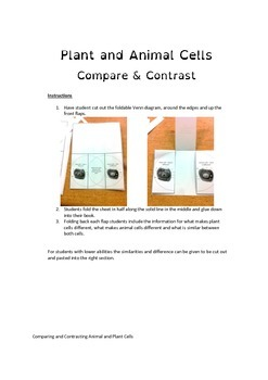 Compare & contrast plant and animal cells - fold-able