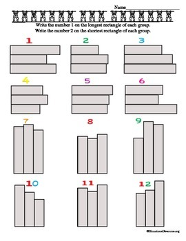 Compare lengths of three rectangles