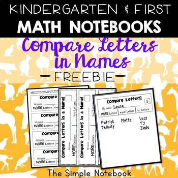 Math Notebooks: Compare Letters in Name
