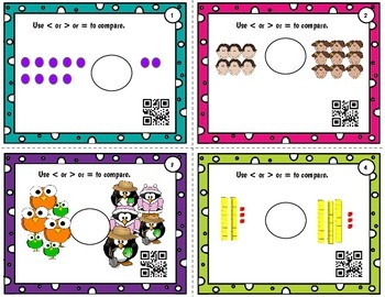 Compare numbers to 50 using pictures, numbers - with or without QR codes