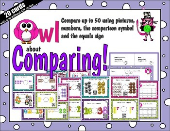Compare numbers to 50 using pictures, numbers - with or wi
