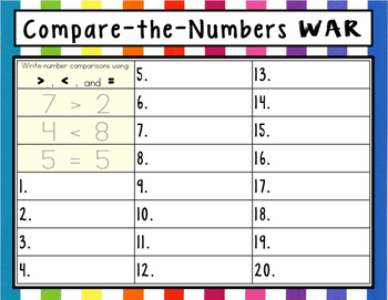 Compare the Numbers WAR Game (Greater Than / Less Than for preK, K, 1)