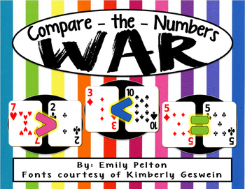 Compare the Numbers WAR Game (Greater Than / Less Than for