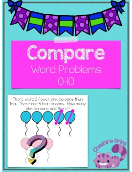 Compare word problems first grade 0-10 1.OA.A.1