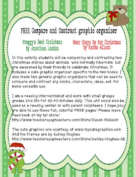 Compare/Contrast Christmas Stories Froggy's Best Christmas, Bear Stays Up